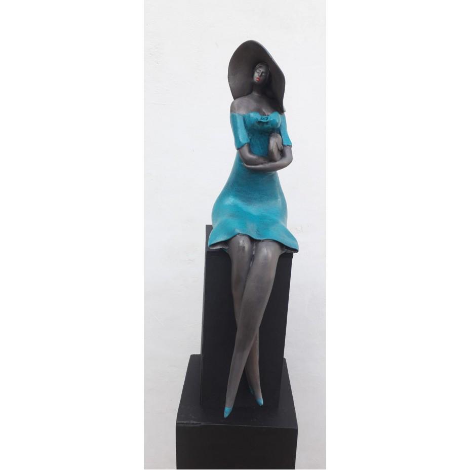Bleu is the color incl, houten zuiltje